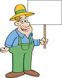 Cartoon Farmer Holding a Sign
