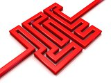 Red path labyrinth. 3D