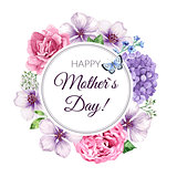 Happy Mother s Day greeting card on floral background. Congratulation card design with flowers and lettering.