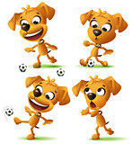 Set yellow funny dog playing soccer ball