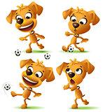 Set yellow funny dog playing soccer ball