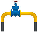 Gas pipeline yellow pipe and big gas valve