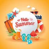 Hello summer banner background template. Vector illustration obj