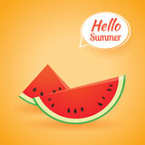 Hello summer card banner with watermelon paper art background.