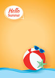 Hello summer card banner with beach ball paper art background.