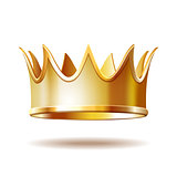 Golden royal crown isolated on white