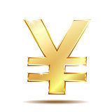 Shiny golden yen currency symbol