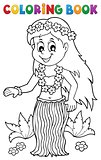 Coloring book Hawaiian theme dancer 1