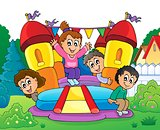 Kids on inflatable castle theme 2