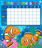 School timetable with clownfish theme