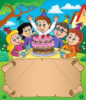 Small parchment with kids party topic 2