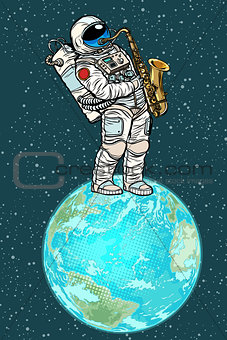 Astronaut plays saxophone on planet earth