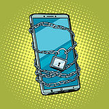smartphone chain lock. Locked gadget. Protected technologies