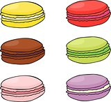 Macaroon cookies. Sweet and tasty vector template for cooking and restaurant menu.