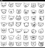 cartoon cats and kittens icons large set