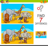 find differences game with safari animals