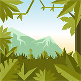 Flat geometric jungle background