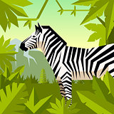 Flat geometric jungle background with Zebra