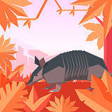 Flat geometric jungle background with Armadillo