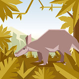 Flat geometric jungle background with Aardwark
