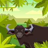 Flat geometric jungle background with Buffalo