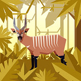 Flat jungle background with Bongo Antelope