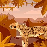 Flat geometric jungle background with Cheetah