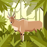 Flat geometric jungle background with Common eland