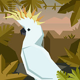 Flat geometric jungle background with Cockatoo