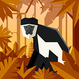Flat geometric jungle background with Colobus