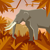 Flat geometric jungle background with Elephant