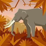 Flat geometric jungle background with Elephant