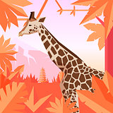 Flat geometric jungle background with Giraffe