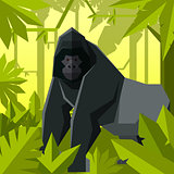 Flat geometric jungle background with Gorilla
