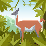 Flat geometric jungle background with Guanaco