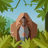 Flat geometric jungle background with Gelada