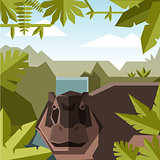 Flat geometric jungle background with Hippopotamus