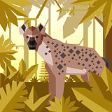 Flat geometric jungle background with Hyena