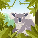 Flat geometric jungle background with Koala