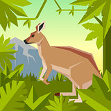 Flat geometric jungle background with Kangaroo