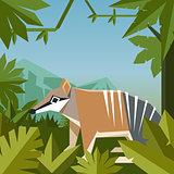 Flat geometric jungle background with Numbat