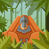 Flat geometric jungle background with Orangutan