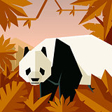 Flat geometric jungle background with Panda