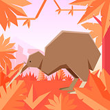 Flat geometric jungle background with Qiwi