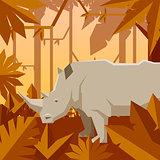 Flat geometric jungle background with Rhinoceros