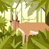 Flat jungle background with Saiga antelope