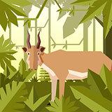 Flat jungle background with Saiga antelope