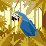 Flat jungle background with Blue-and Yellow macaw