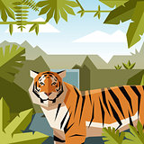 Flat geometric jungle background with Tiger