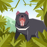 Flat jungle background with Tasmanian devil